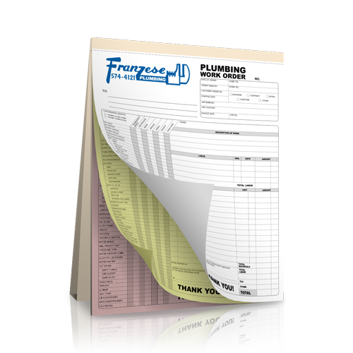 Carbonless Plumbing Receipt Book