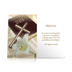 Bible Cross Flat Sympathy Thank You Cards