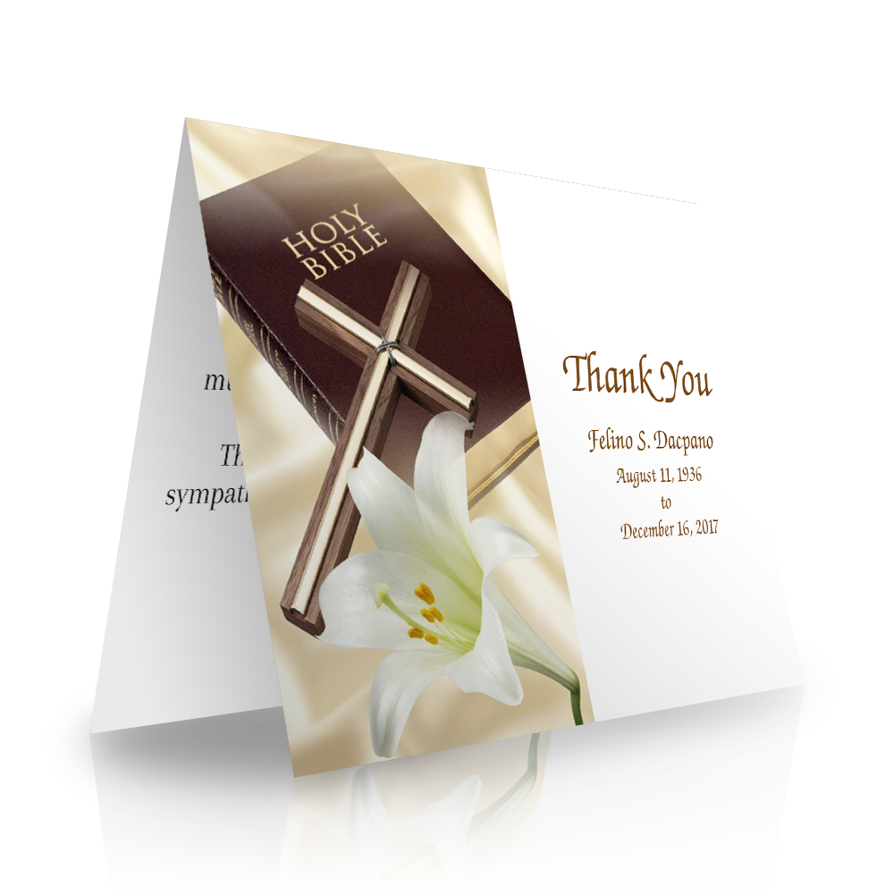 Bible Cross Folded Sympathy Thank You Cards