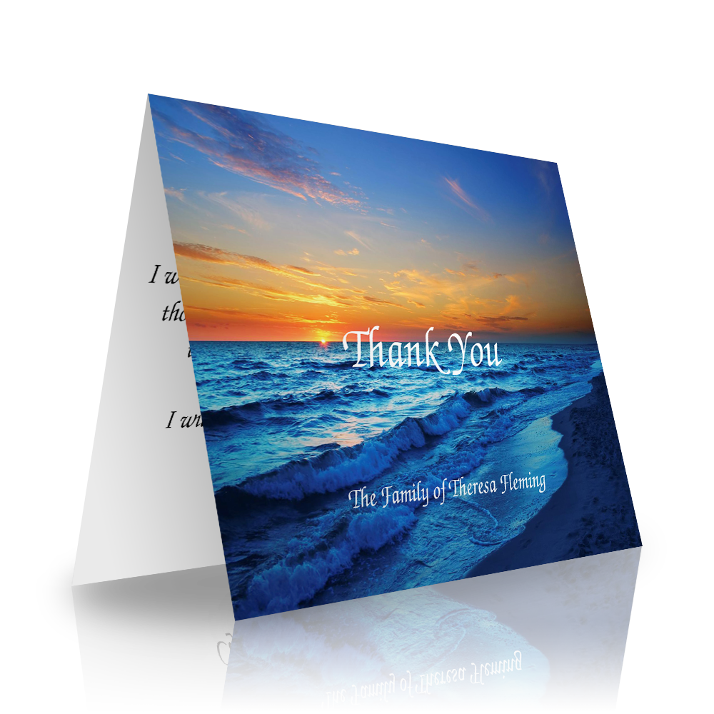 Calm Ocean Folded Sympathy Thank You Cards