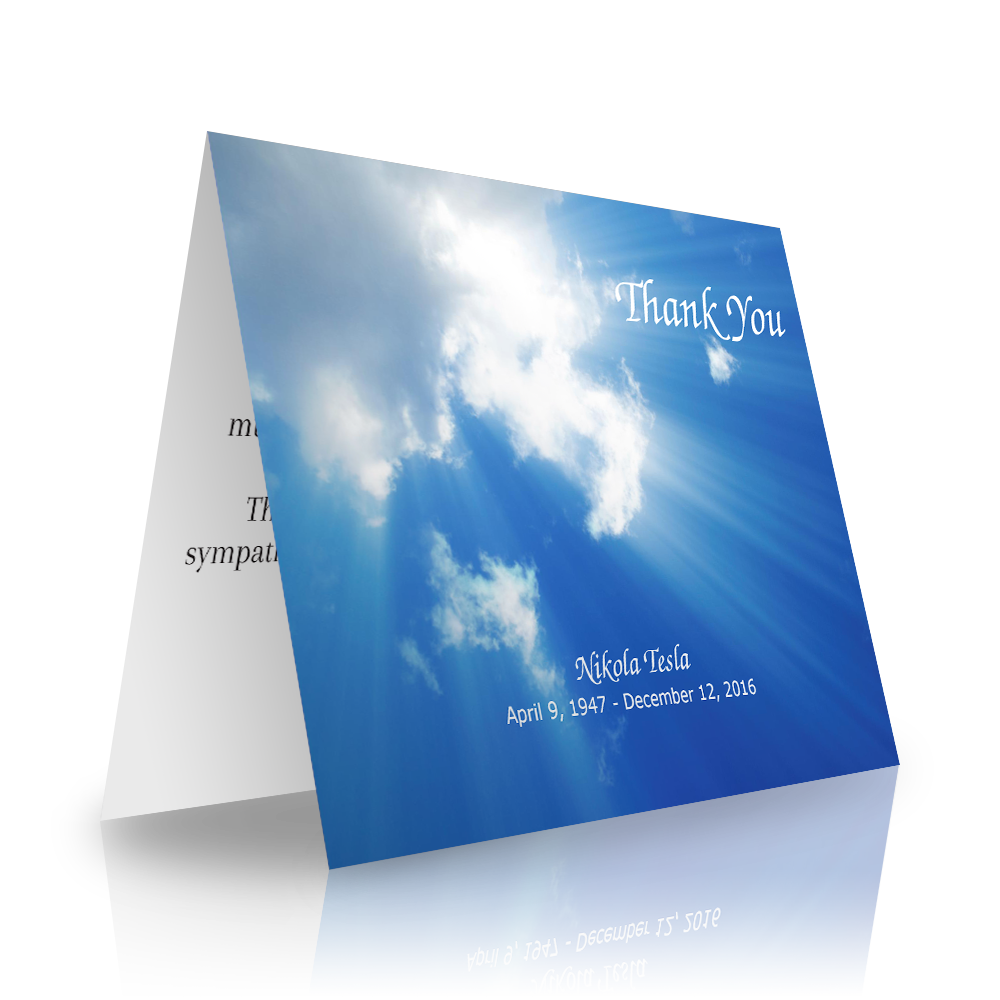 Clouds Folded Sympathy Thank You Cards