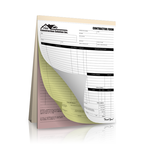 Carbonless Contractor Receipt Book