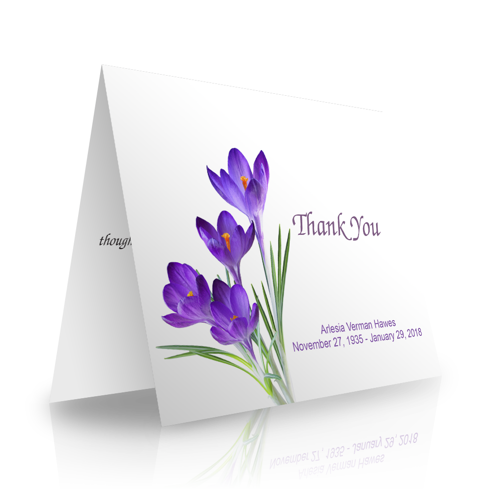 Crocus Folded Sympathy Thank You Cards