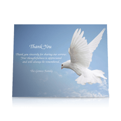 White Dove Flat Sympathy Thank You Cards