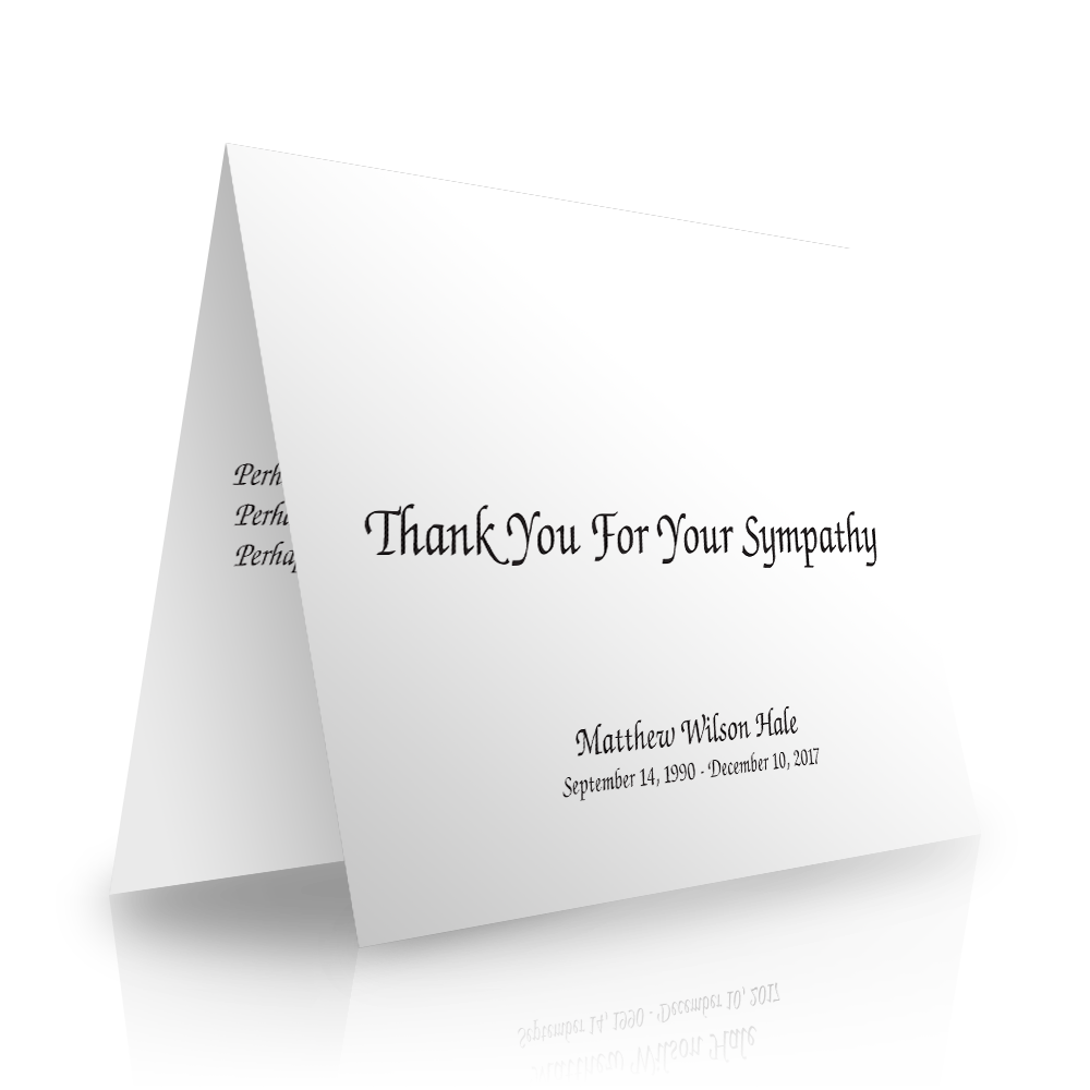 Elegant Folded Sympathy Thank You Cards
