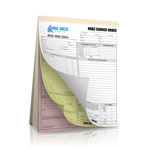 HVAC Carbonless Receipt Book