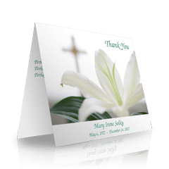 Lily Cross Folded Sympathy Thank You Cards