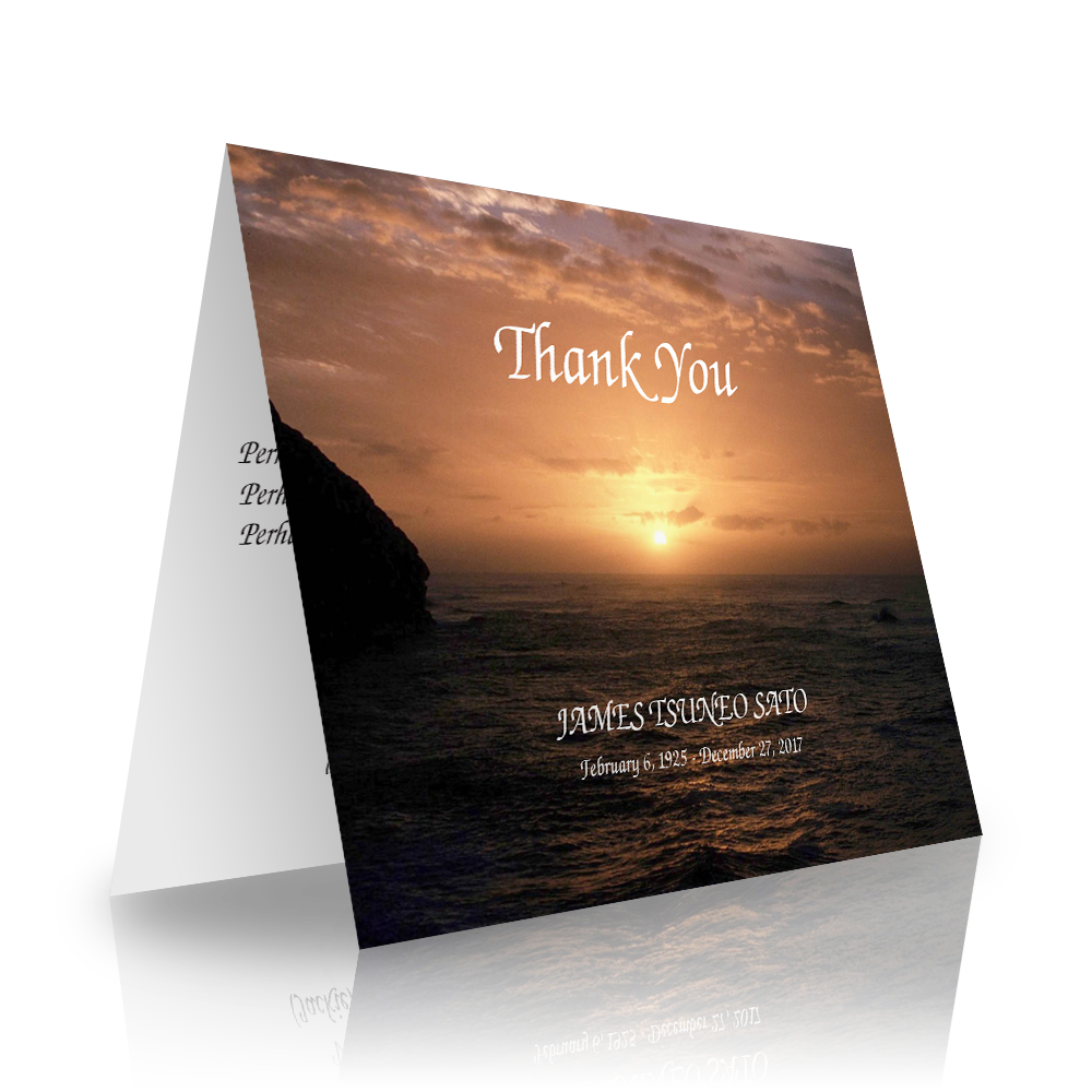 Ocean Folded Sympathy Thank You Cards