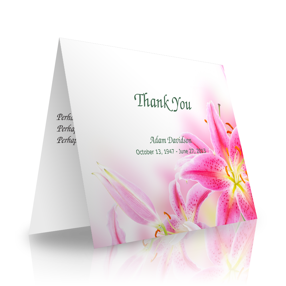 Pink Lily Folded Sympathy Thank You Cards
