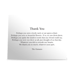 Proper Elegant Flat Sympathy Thank You Cards