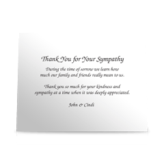 Pure Elegant Flat Sympathy Thank You Cards