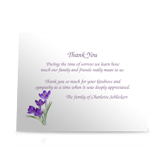 Purple Crocus Flat Sympathy Thank You Cards