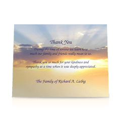 Sunset Sky Flat Sympathy Thank You Cards