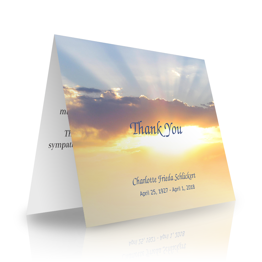 Sunset Sky Folded Sympathy Thank You Cards