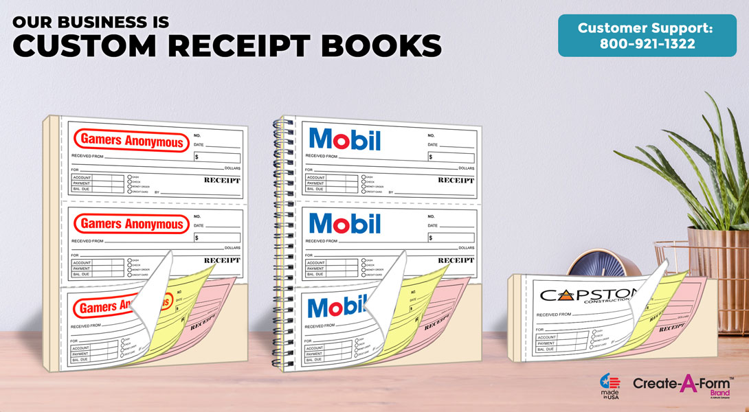 customized receipt books carbon copy