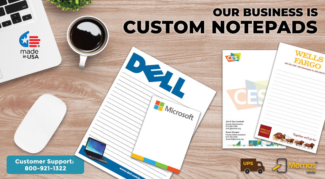 notepads with company logo