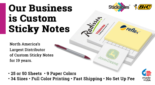 5.5 x 8.5 Custom Post It Notes Sticky Notes Stickables Bic