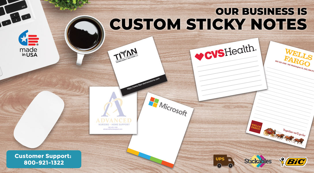 sticky notepads with company logo