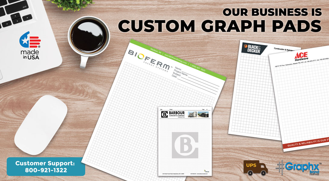 graph paper with company logo