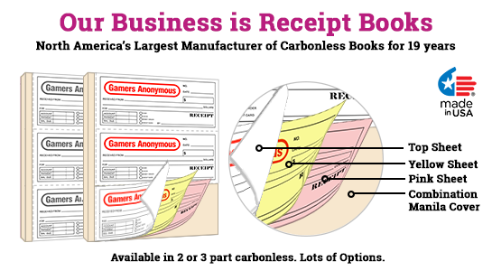 Custom Receipt Books 3 per page