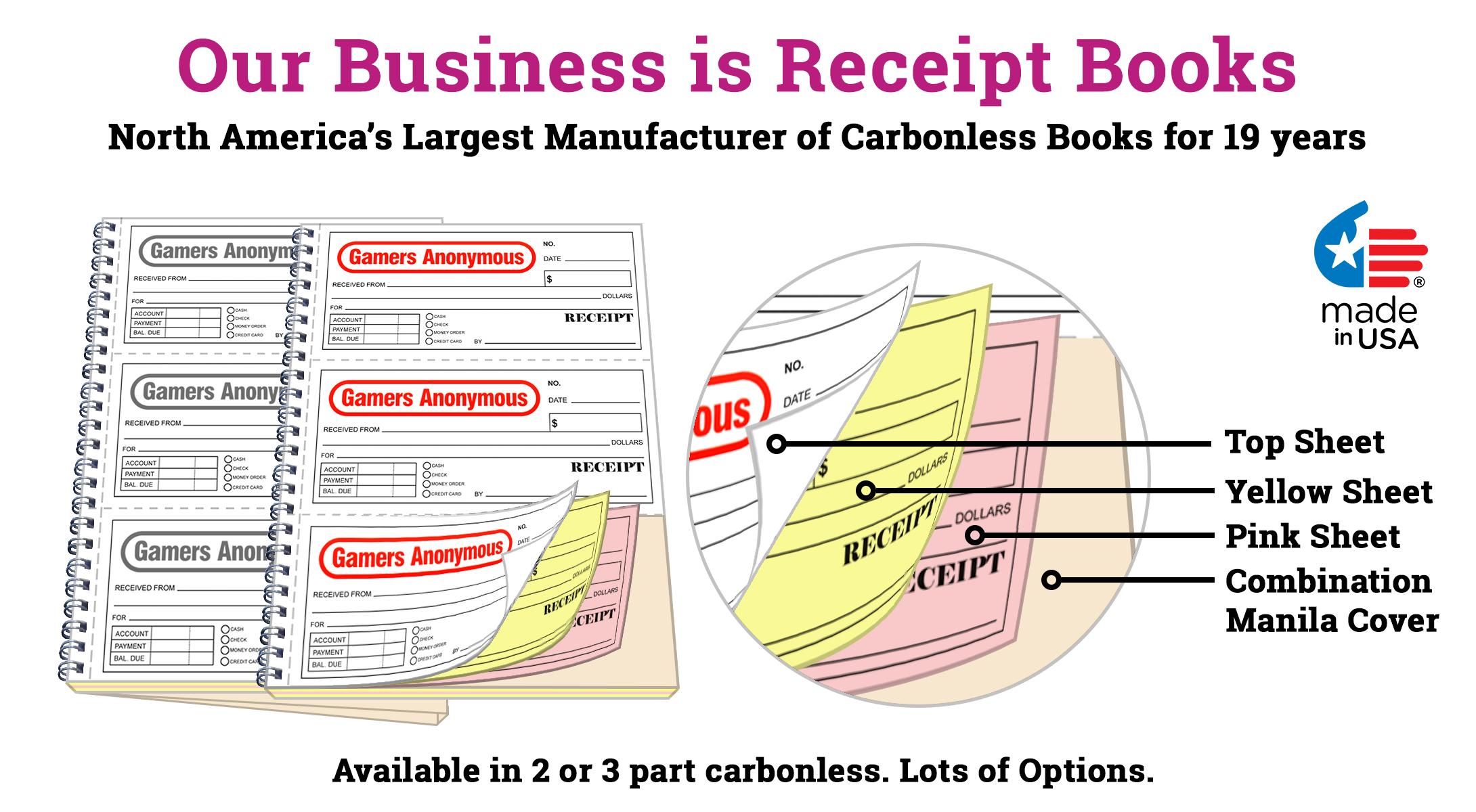 Custom spiral receipt books