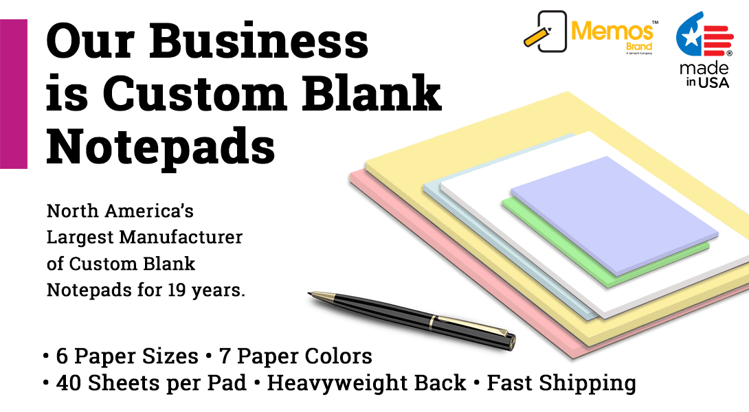 Cheap blank notepads, memo pads and scratch pads