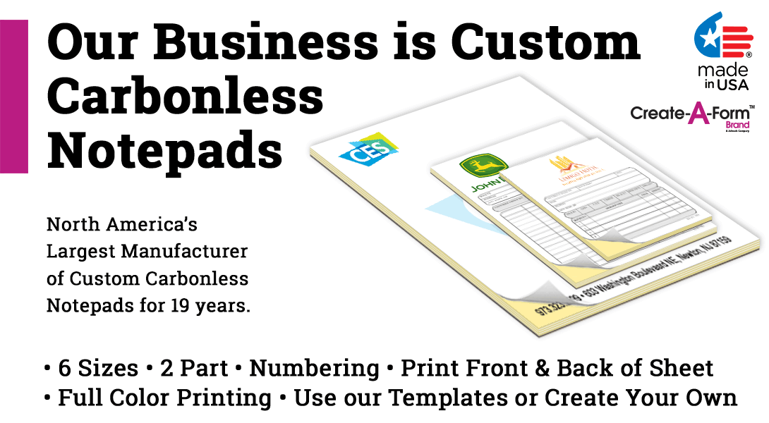 personalized carbon copy notepads