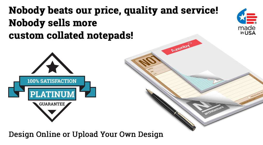 personalized collated notepads
