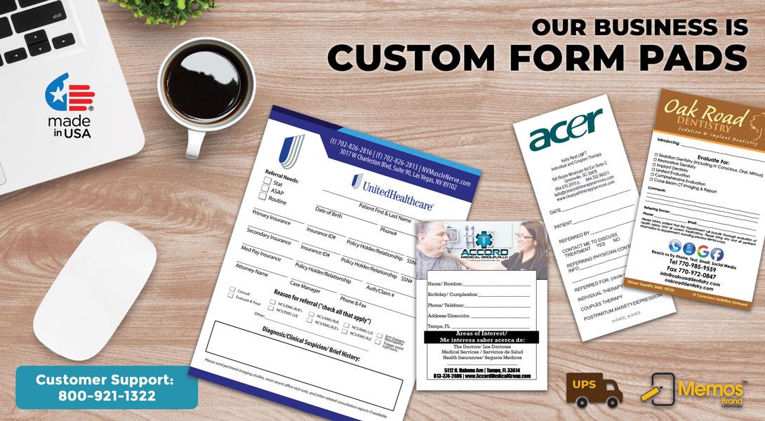 pre printed order forms