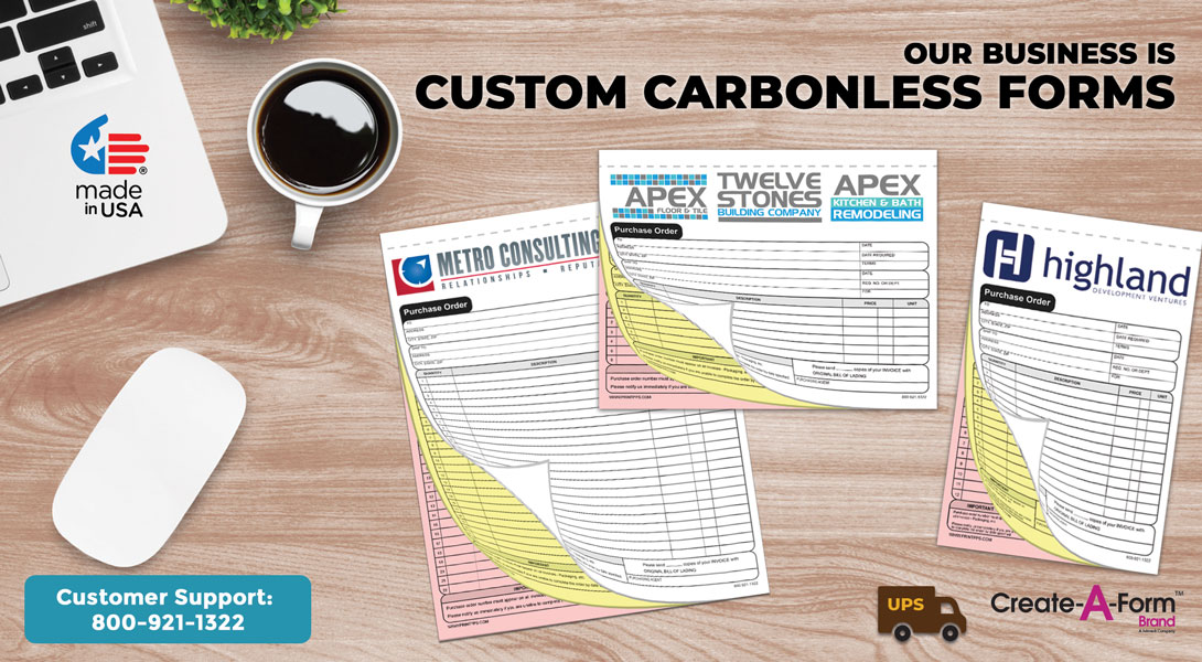 custom 2 part carbonless forms
