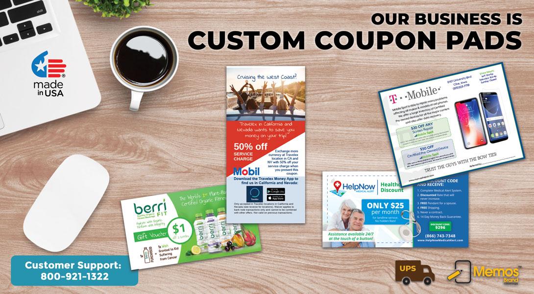 custom coupon tear off pads