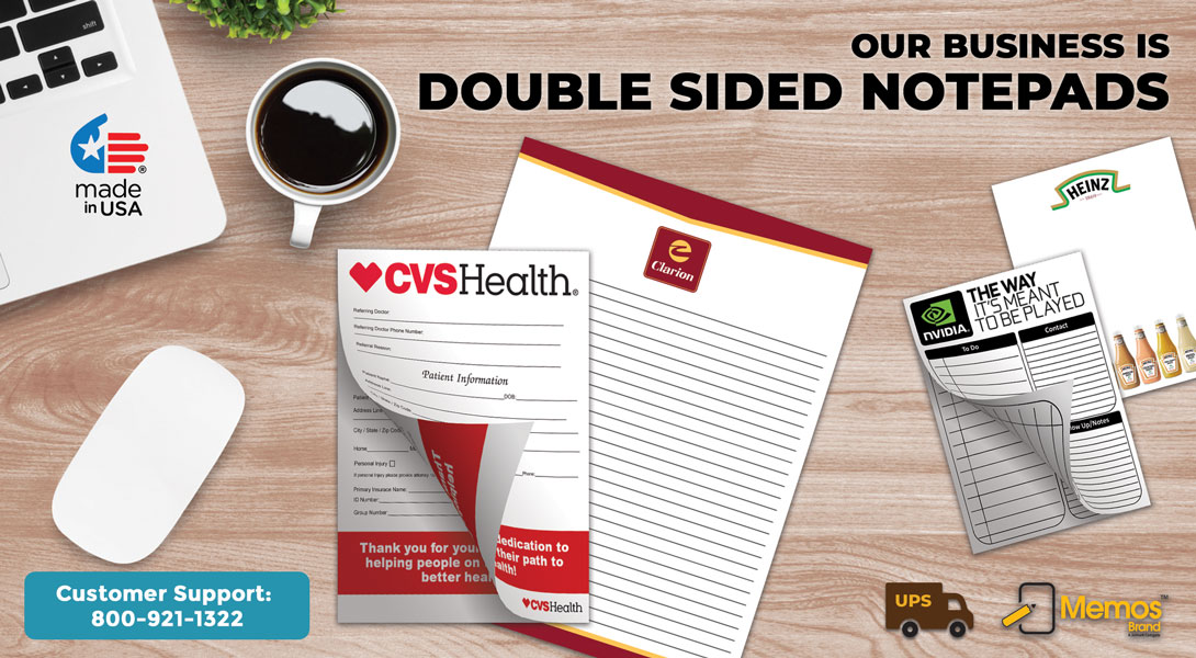 printed paper note pads double sided