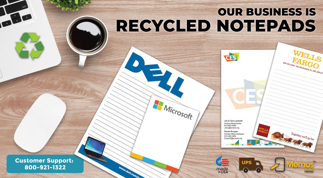 printed recycled notepads