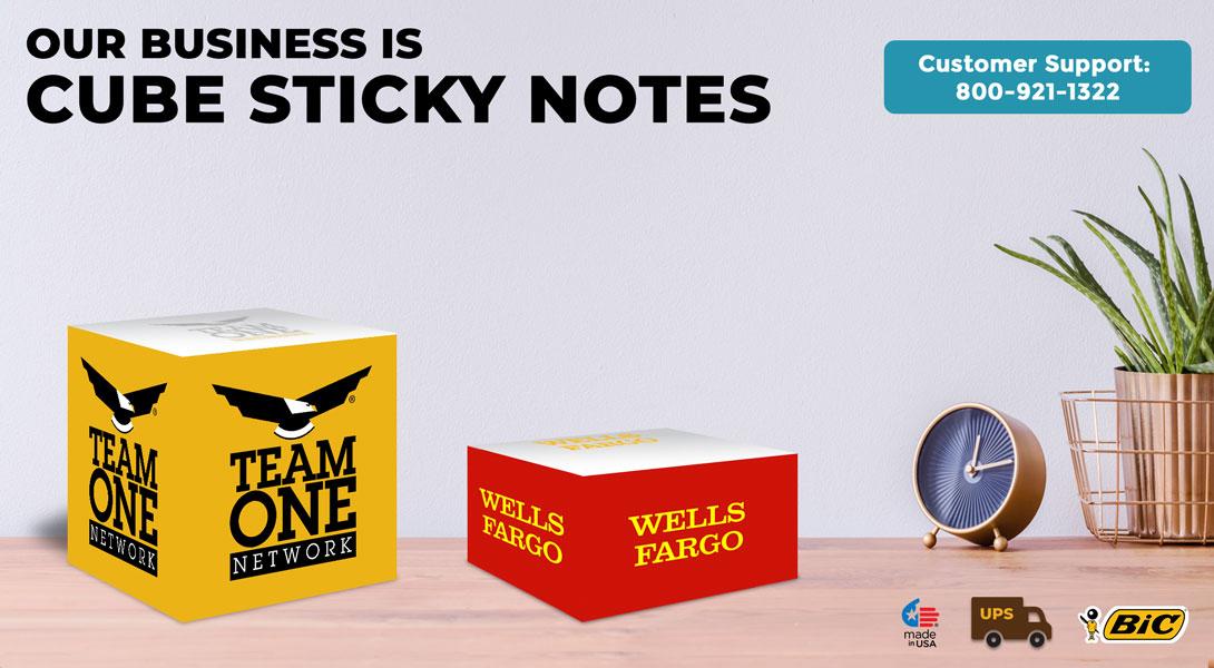 Custom sticky note cubes