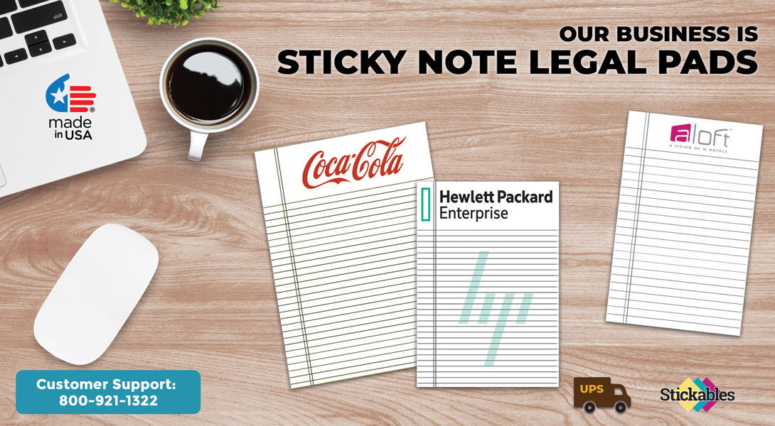 custom sticky note legal pads