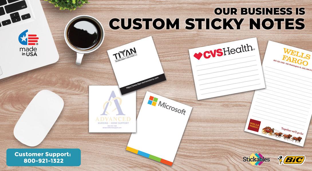sticky notepads with company logo