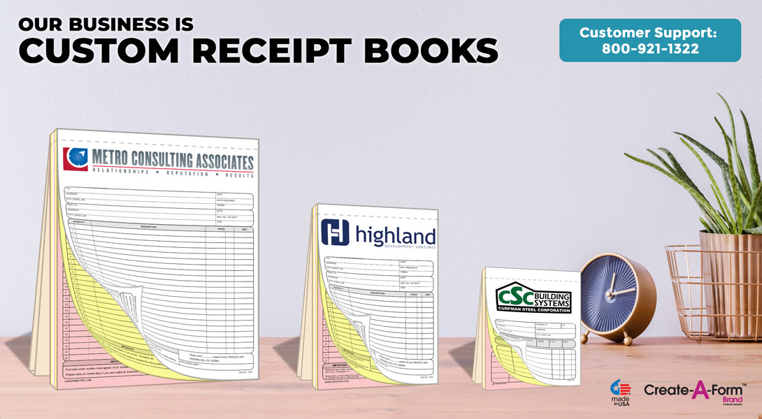 custom receipt books printing