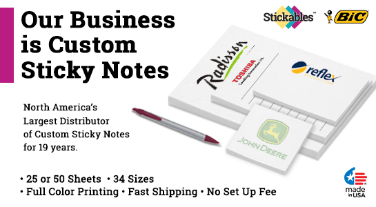 6 x 6 Custom Post It Notes Sticky Notes Stickables Bic