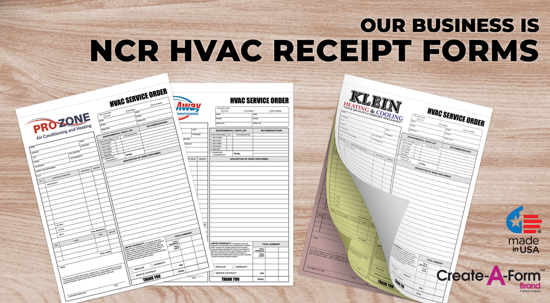 custom hvac invoice books