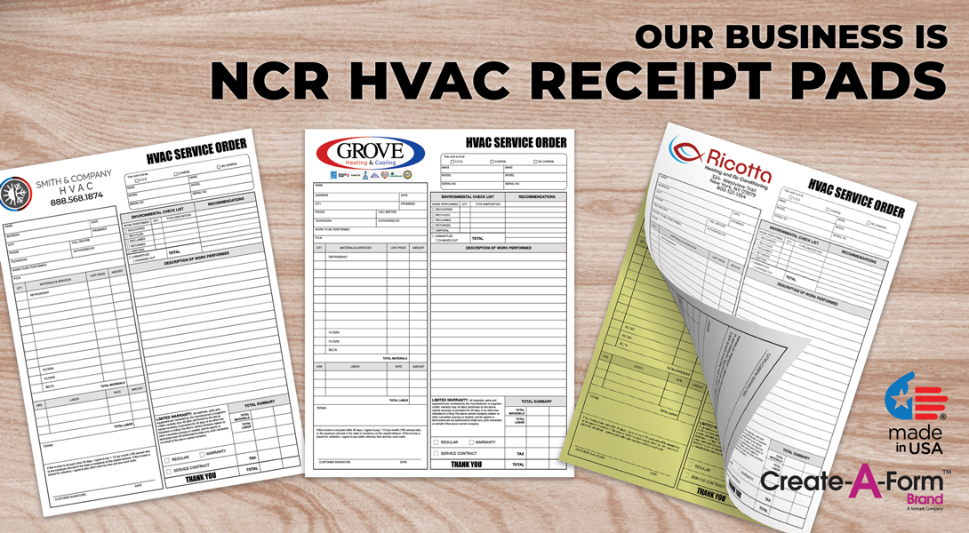HVAC invoice receipts
