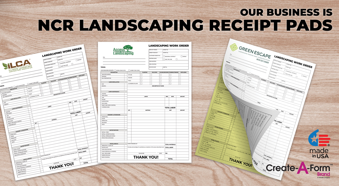 Landscaping invoice receipts