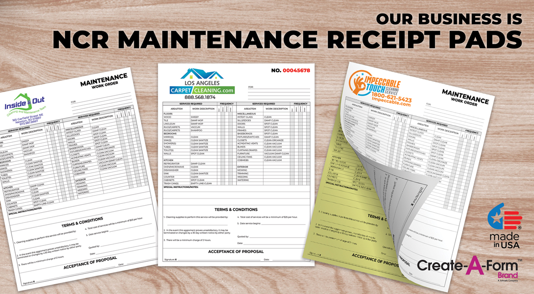 Maintenance invoice receipts