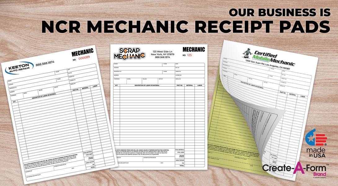 Mechanic invoice receipts