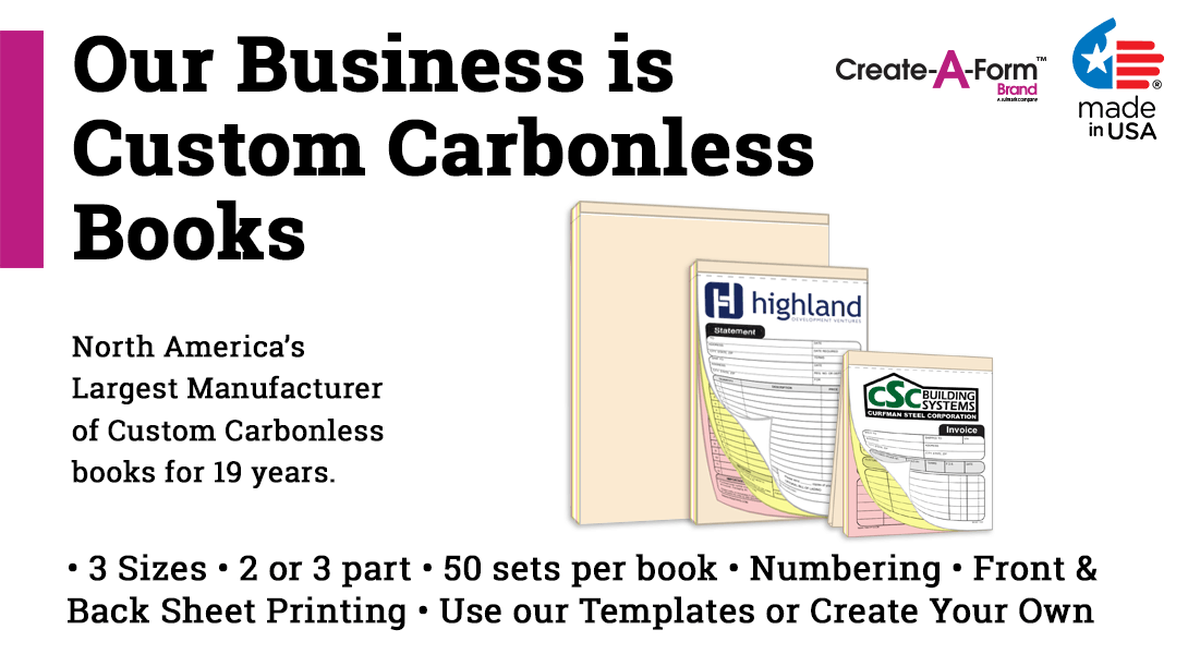 custom no carbon invoice statement sales receipt book