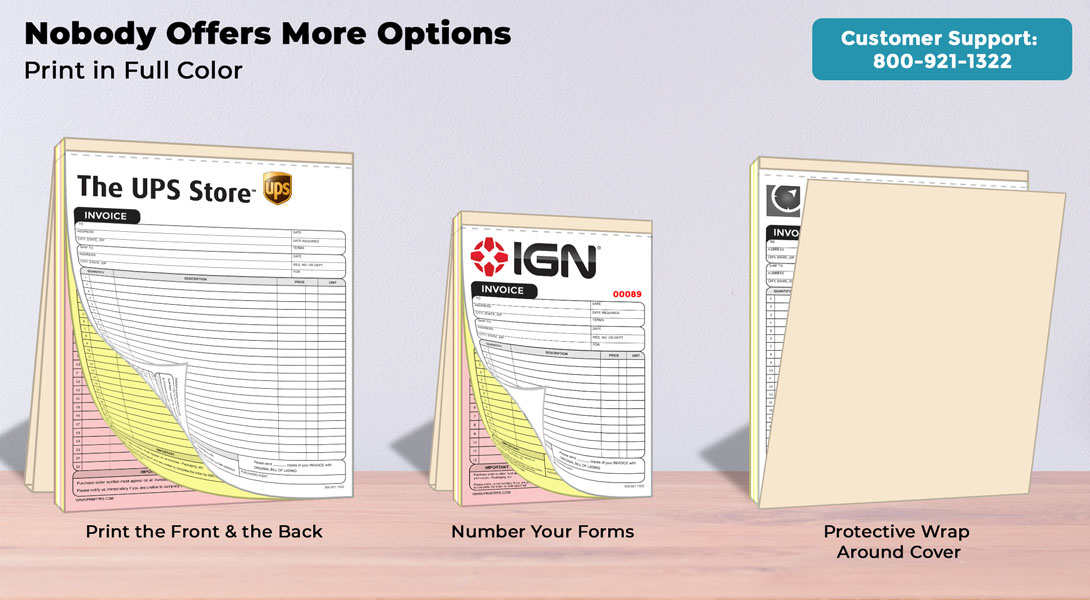customized invoice pads