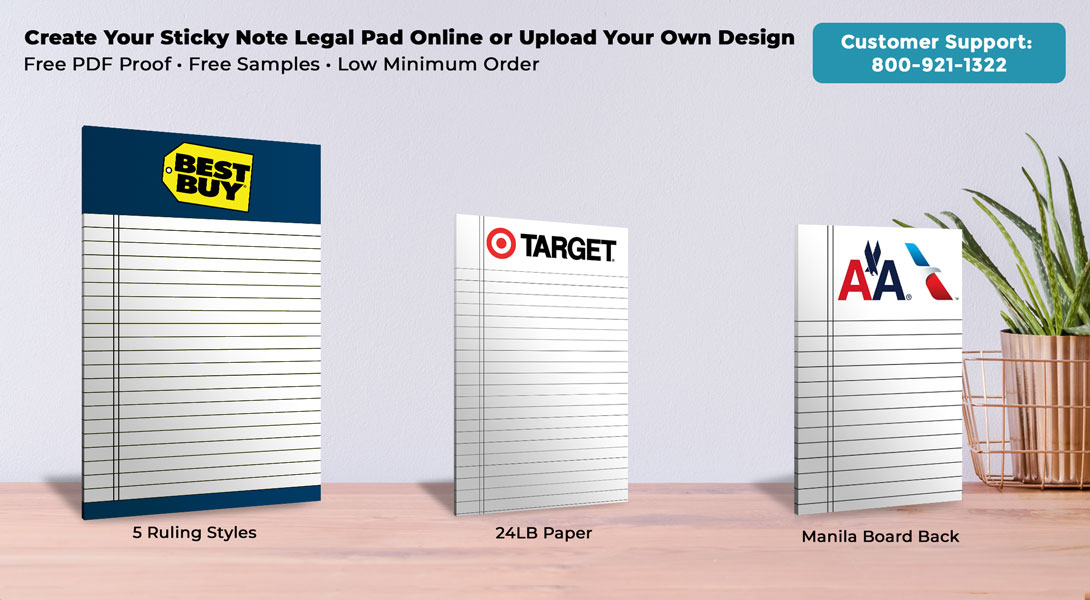 personalized sticky note legal pads