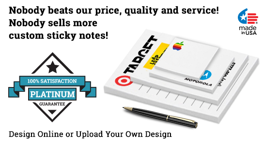 stick notes with logo