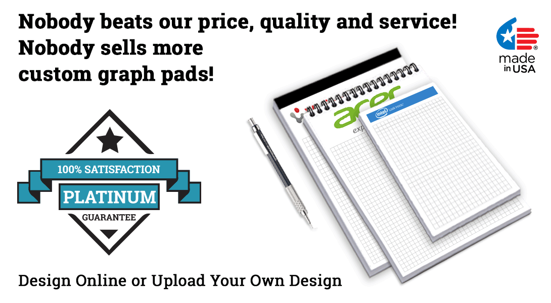 graph paper pads with logo