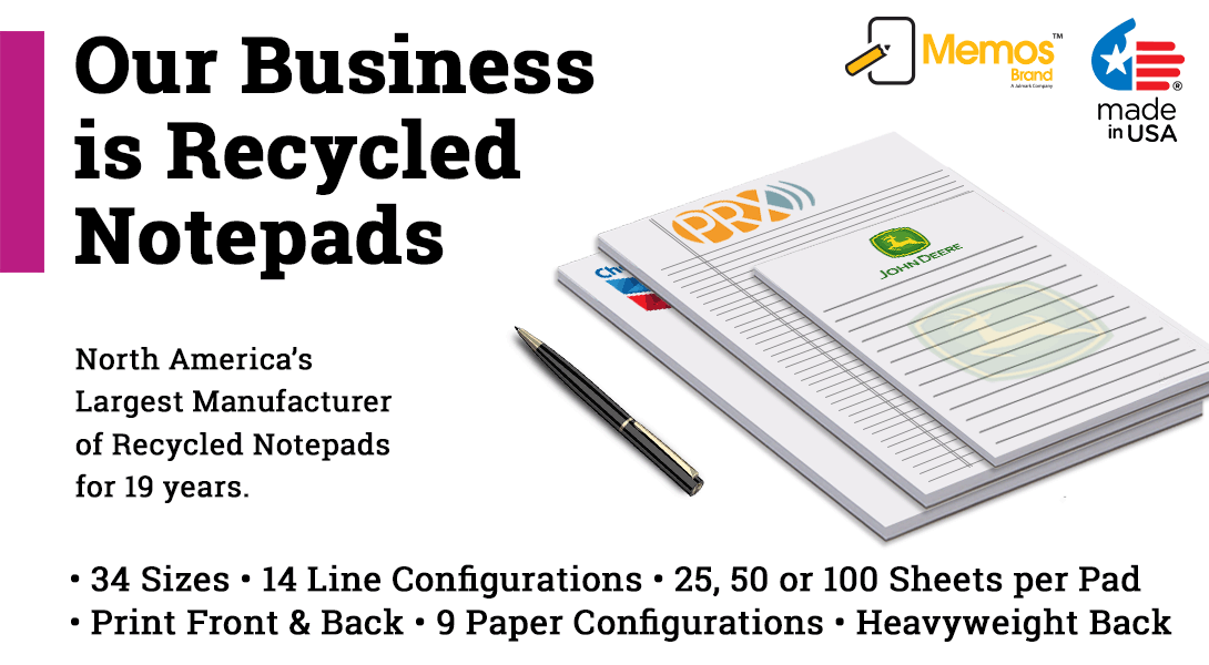 recycled paper note pads