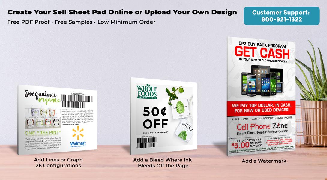 customized sell sheet pads